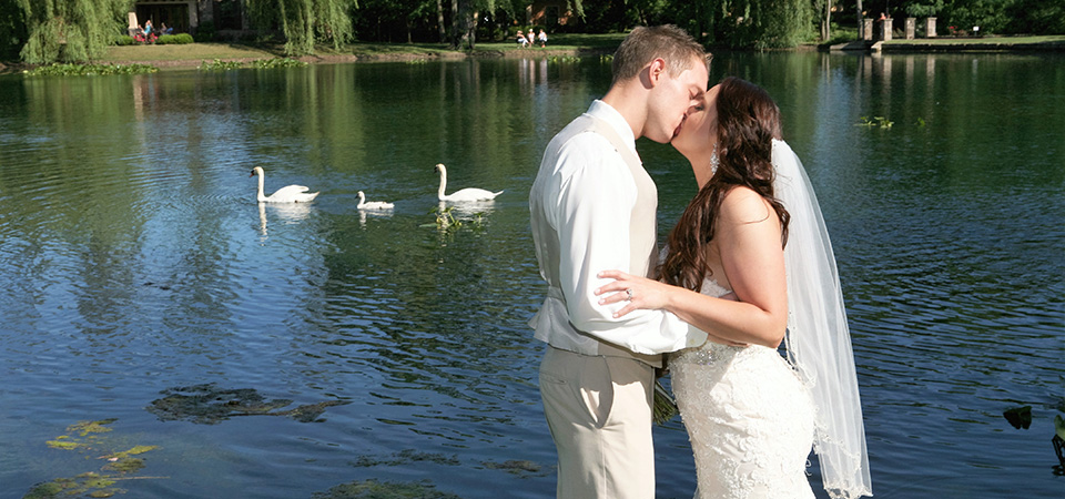 Photo of couple kissing by the lake